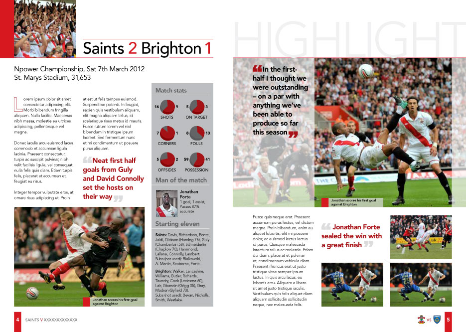 Saints 2012 Programme Design