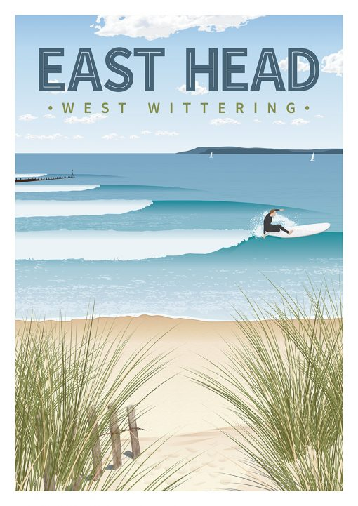 West Wittering Beach East Head Sussex Surf Surfing Poster Print Art