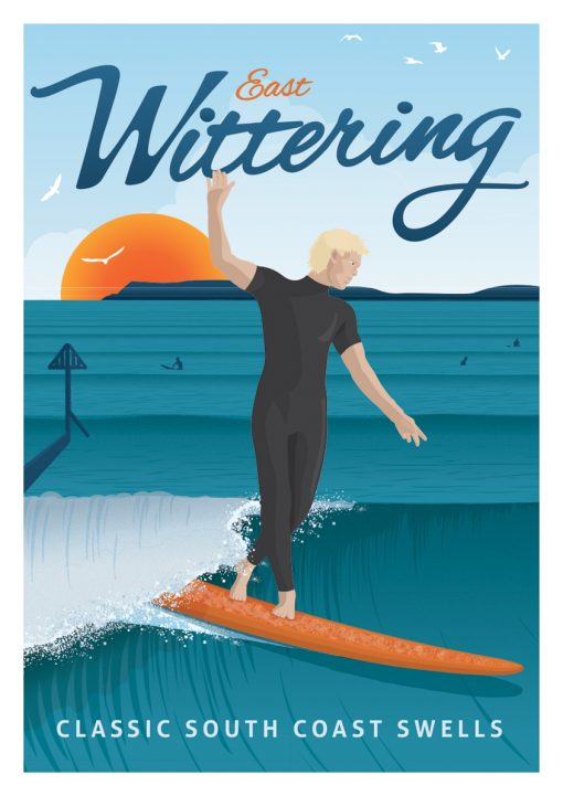East Wittering Beach Sussex Surf Surfing Poster Print Art
