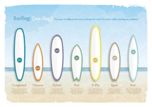 Surfboards History Quiver Surf Surfing Poster Print Art