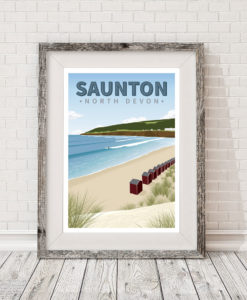 Saunton Sands Beach Devon Cornwall Surf Surfing Poster Print Art