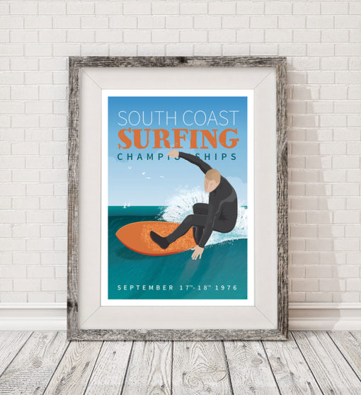 Competition Bournemouth Surf Surfing Poster Print Art