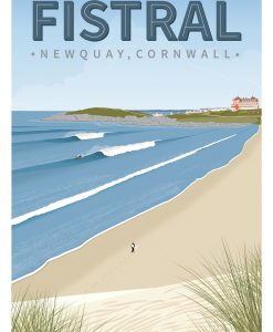 Fistral Beach Newquay Cornwall Surf Surfing Poster Print Art