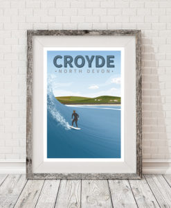 Croyde Beach Devon Cornwall Surf Surfing Poster Print Art