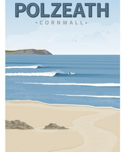 Polzeath surfing poster Cornwall