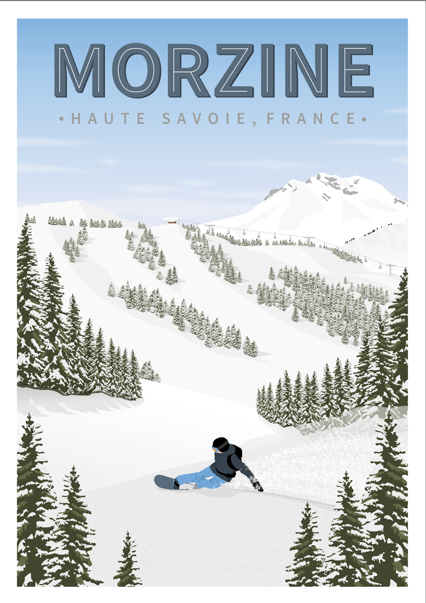 Skiing snowboard poster Morzine, Les Gets and Avoriaz in the Portes du Soleil region of the French Alps